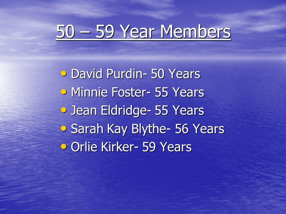 50 – 59 Year Members David Purdin- 50 Years David Purdin- 50 Years Minnie Foster- 55 Years Minnie Foster- 55 Years Jean Eldridge- 55 Years Jean Eldrid