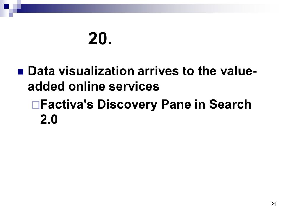 21 20. Data visualization arrives to the value- added online services  Factiva's Discovery Pane in Search 2.0