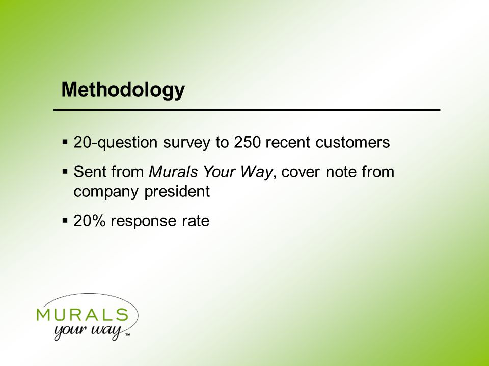  20-question survey to 250 recent customers  Sent from Murals Your Way, cover note from company president  20% response rate Methodology