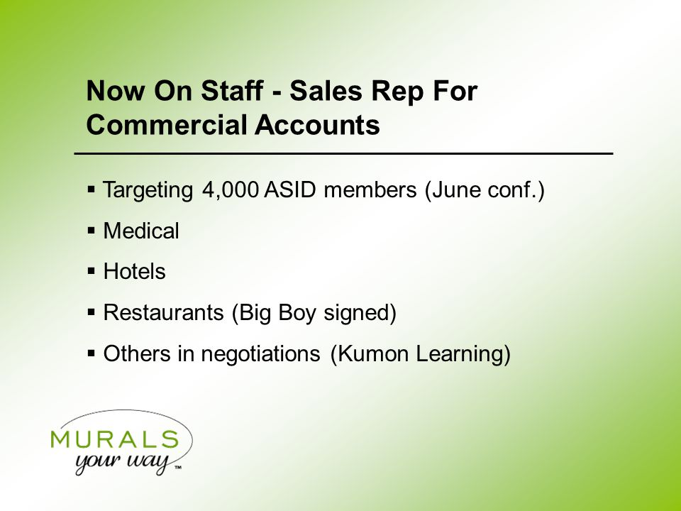  Targeting 4,000 ASID members (June conf.)  Medical  Hotels  Restaurants (Big Boy signed)  Others in negotiations (Kumon Learning) Now On Staff - Sales Rep For Commercial Accounts