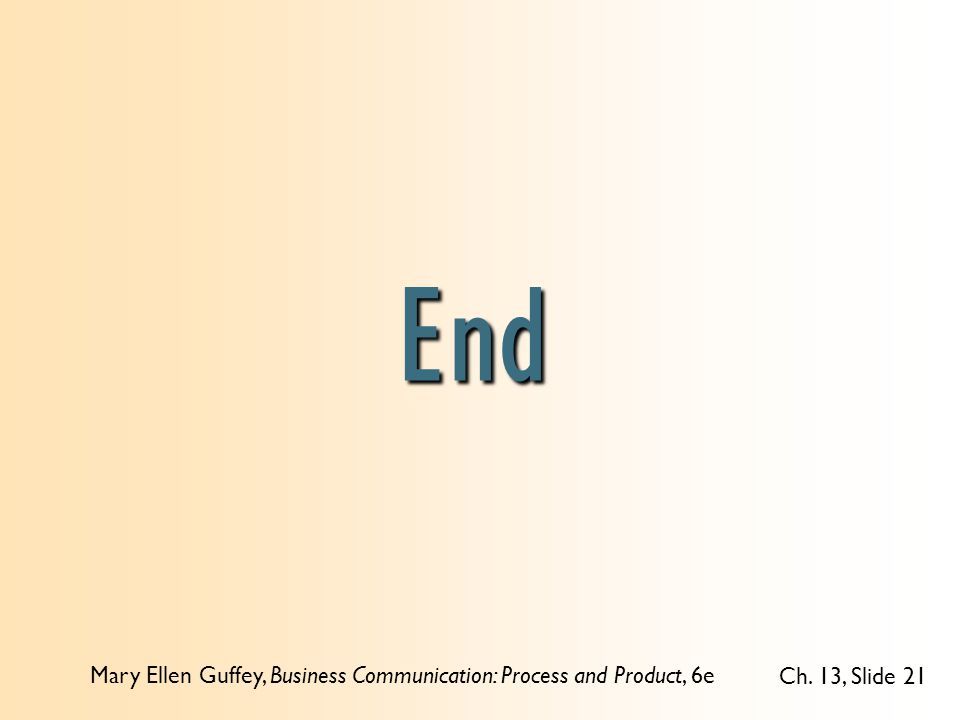Mary Ellen Guffey, Business Communication: Process and Product, 6e Ch. 13, Slide 21 End