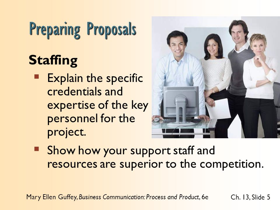 Mary Ellen Guffey, Business Communication: Process and Product, 6e Ch. 13, Slide 5 Staffing  Explain the specific credentials and expertise of the ke