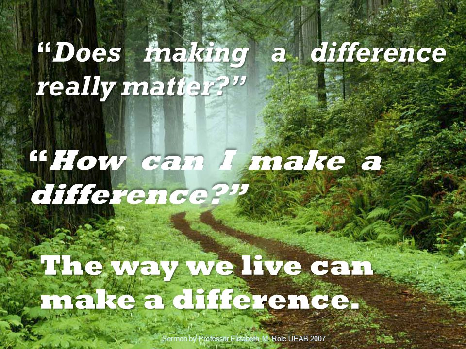 Does making a difference really matter How can I make a difference The way we live can make a difference.