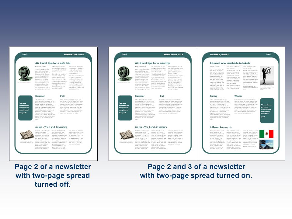 Page 2 of a newsletter with two-page spread turned off.