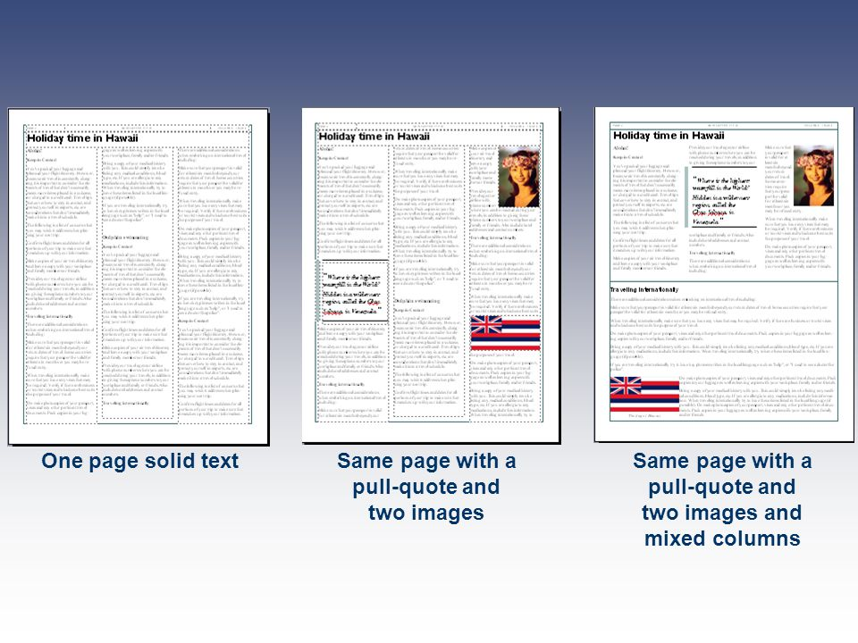 One page solid textSame page with a pull-quote and two images Same page with a pull-quote and two images and mixed columns