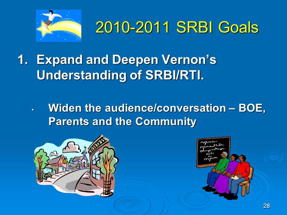 28 2010-2011 SRBI Goals 2010-2011 SRBI Goals 1.Expand and Deepen Vernon's Understanding of SRBI/RTI.