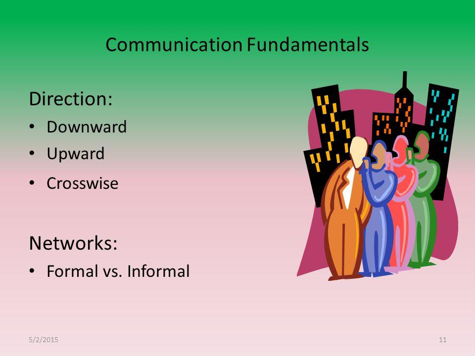 Communication Fundamentals Direction: Downward Upward Crosswise Networks: Formal vs. Informal 5/2/201511
