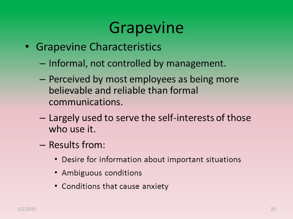 Grapevine Grapevine Characteristics – Informal, not controlled by management.