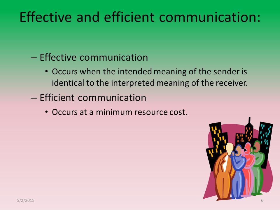 Effective and efficient communication: – Effective communication Occurs when the intended meaning of the sender is identical to the interpreted meaning of the receiver.