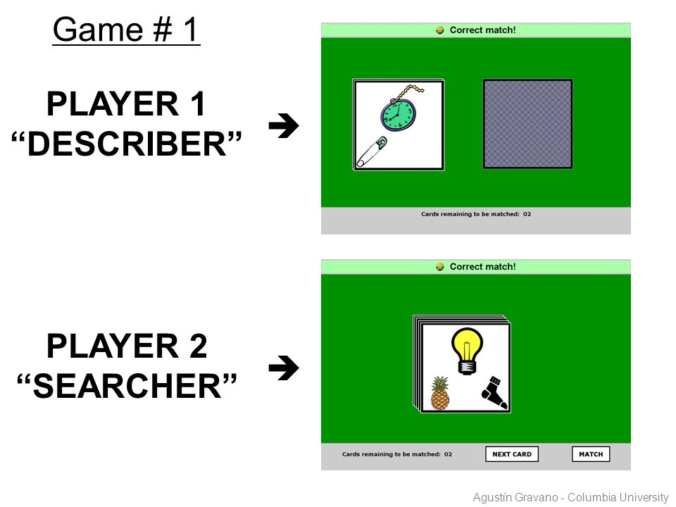 "PLAYER 1 ""DESCRIBER""  PLAYER 2 ""SEARCHER""  Game # 1 Agustín Gravano - Columbia University"