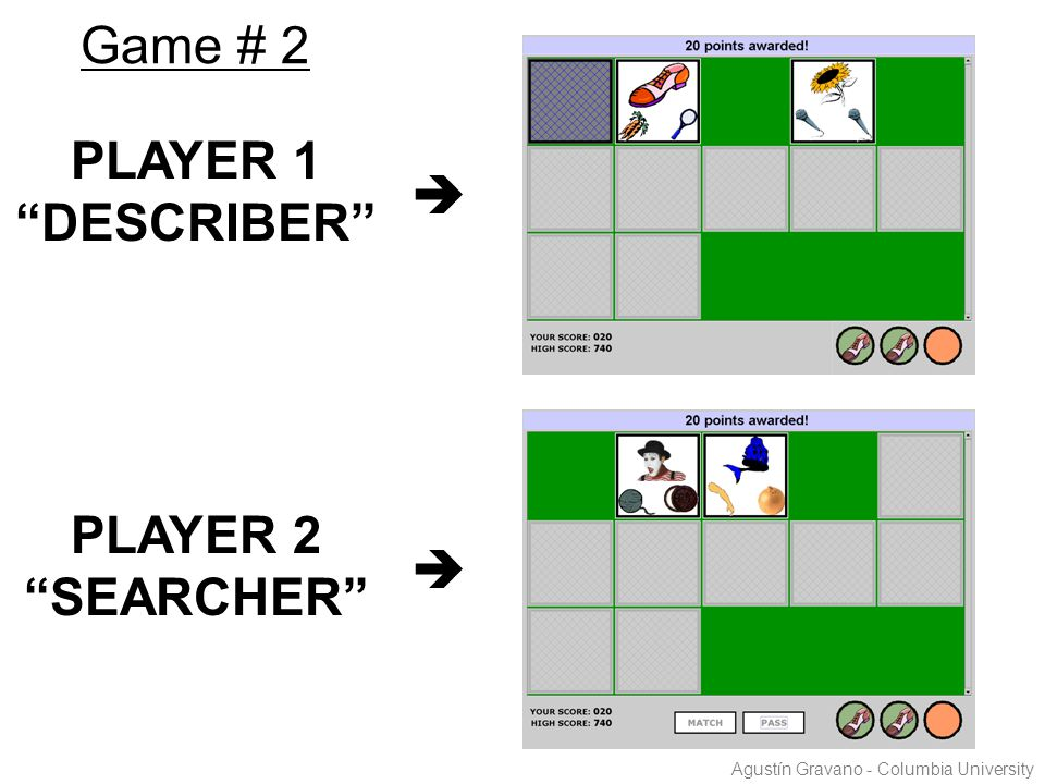 "PLAYER 1 ""DESCRIBER""  PLAYER 2 ""SEARCHER""  Game # 2 Agustín Gravano - Columbia University"