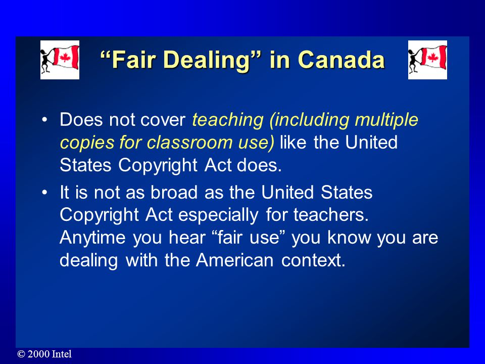 "© 2000 Intel What is ""fair use""? The ""fair use"" provision of the United States Copyright Act states: ""The fair use of a copyrighted work, including su"