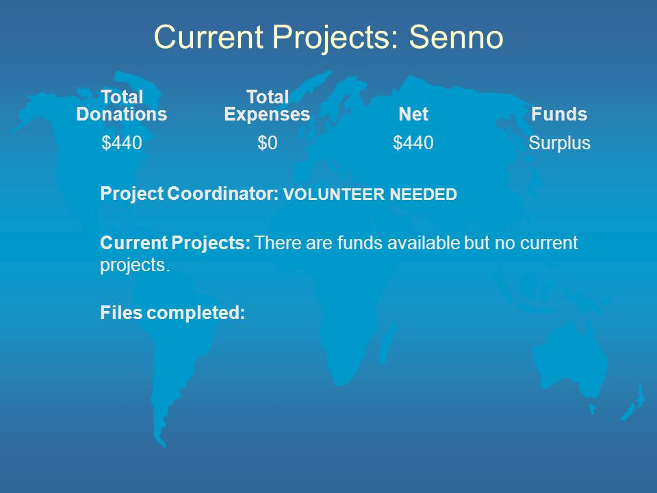 Current Projects: Senno Project Coordinator: VOLUNTEER NEEDED Current Projects: There are funds available but no current projects.