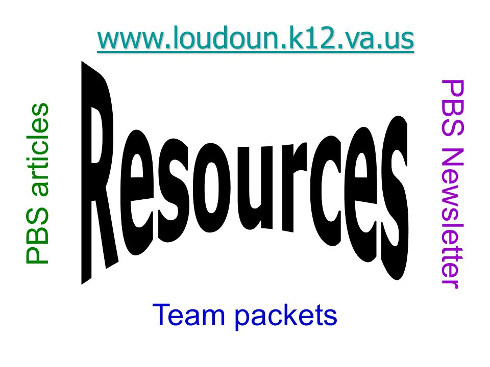 Team packets PBS articles PBS Newsletter www.loudoun.k12.va.us