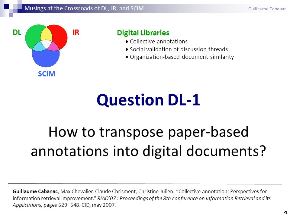 65 The Submission-Date bias Influence of submission date on average marks Musings at the Crossroads of DL, IR, and SCIM Guillaume Cabanac
