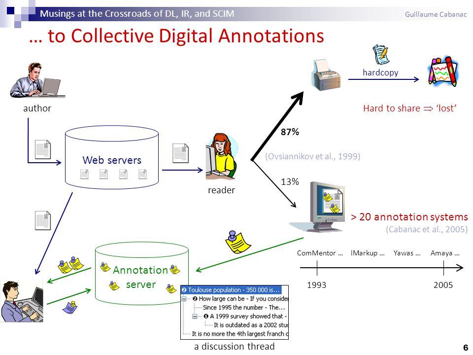 7 W3C Annotea / Amaya (Kahan et al., 2002) Digital Document Annotation: Examples a reader's comment discussion thread Arakne, featuring fluid annotations (Bouvin et al., 2002) Musings at the Crossroads of DL, IR, and SCIM Guillaume Cabanac
