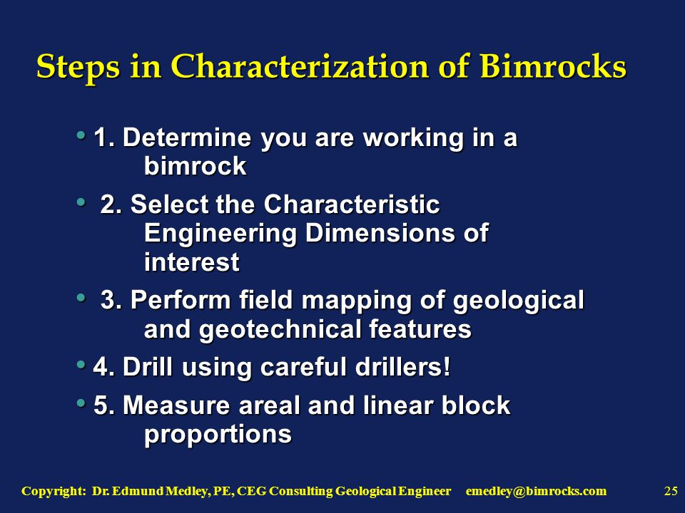 Copyright: Dr. Edmund Medley, PE, CEG Consulting Geological Engineer emedley@bimrocks.com25 Steps in Characterization of Bimrocks 1. Determine you are