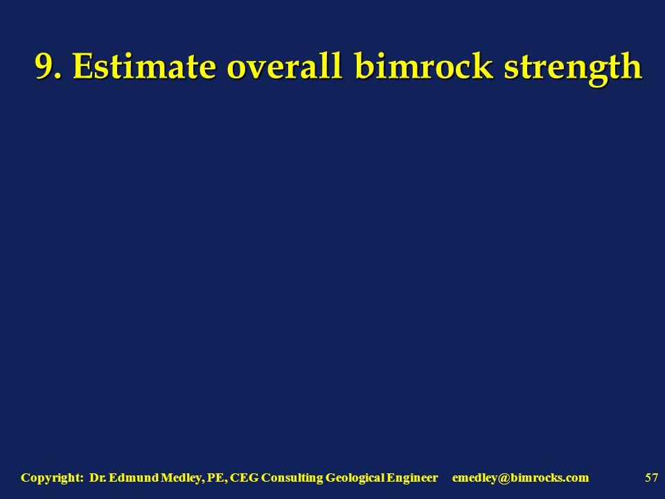Copyright: Dr. Edmund Medley, PE, CEG Consulting Geological Engineer emedley@bimrocks.com57 9.