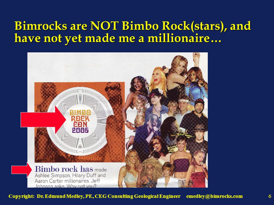 Copyright: Dr. Edmund Medley, PE, CEG Consulting Geological Engineer emedley@bimrocks.com6 Bimrocks are NOT Bimbo Rock(stars), and have not yet made m