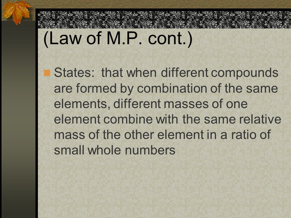 (Law of M.P.