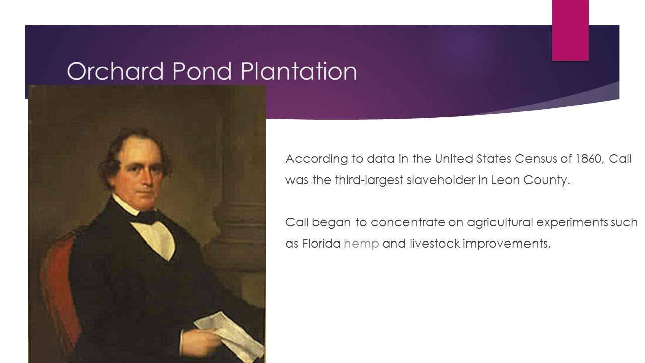 Orchard Pond Plantation  According to data in the United States Census of 1860, Call  was the third-largest slaveholder in Leon County.