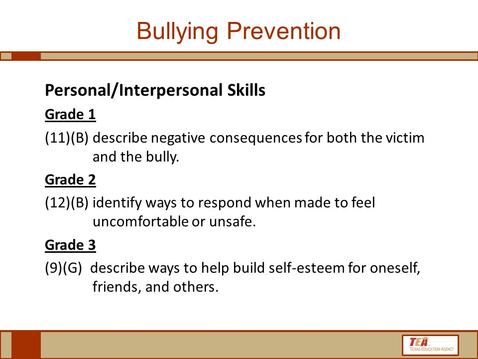 Bullying Prevention Personal/Interpersonal Skills Grade 1 (11)(B)describe negative consequences for both the victim and the bully.