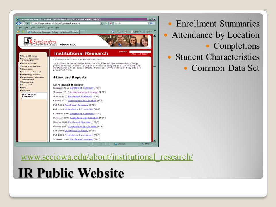 IR Public Website Enrollment Summaries Attendance by Location Completions Student Characteristics Common Data Set www.scciowa.edu/about/institutional_research/