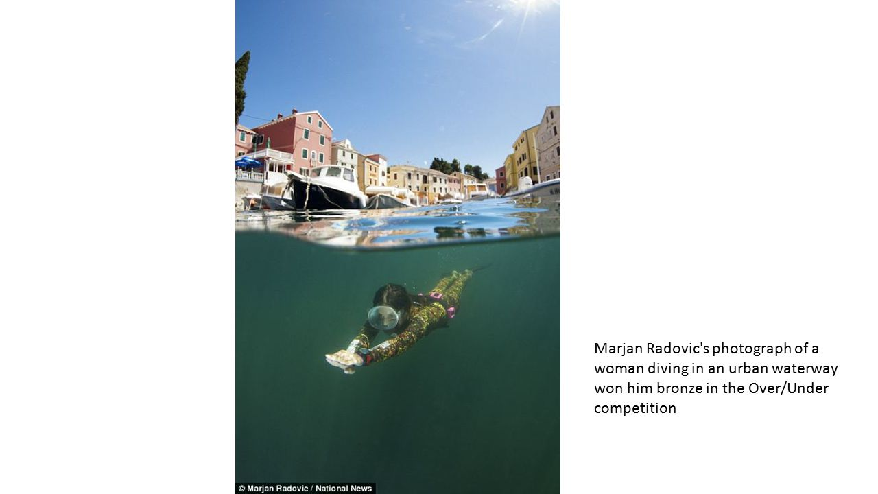 Marjan Radovic s photograph of a woman diving in an urban waterway won him bronze in the Over/Under competition