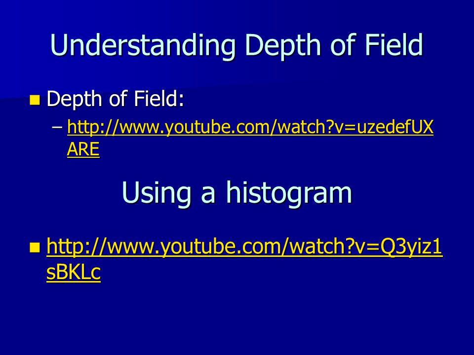 Understanding Depth of Field Depth of Field: Depth of Field: –http://www.youtube.com/watch v=uzedefUX ARE http://www.youtube.com/watch v=uzedefUX AREhttp://www.youtube.com/watch v=uzedefUX ARE Using a histogram http://www.youtube.com/watch v=Q3yiz1 sBKLc http://www.youtube.com/watch v=Q3yiz1 sBKLc http://www.youtube.com/watch v=Q3yiz1 sBKLc http://www.youtube.com/watch v=Q3yiz1 sBKLc