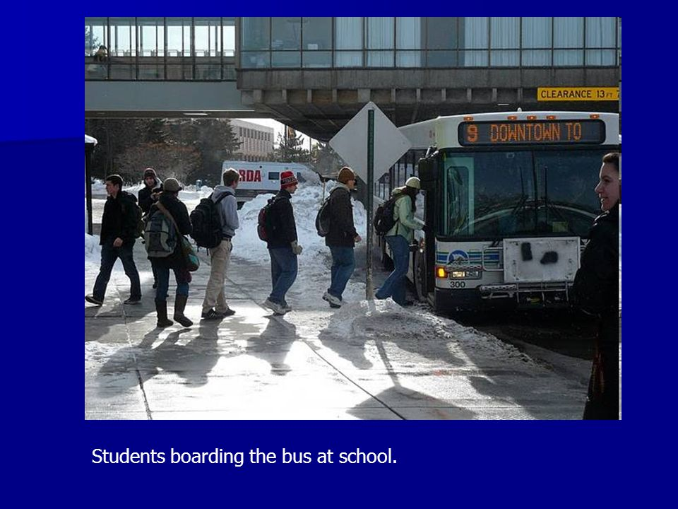Students boarding the bus at school.