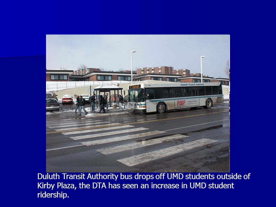 Duluth Transit Authority bus drops off UMD students outside of Kirby Plaza, the DTA has seen an increase in UMD student ridership.