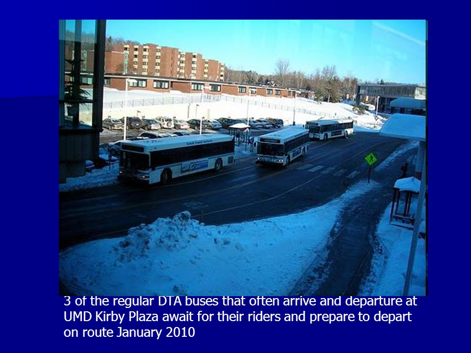 3 of the regular DTA buses that often arrive and departure at UMD Kirby Plaza await for their riders and prepare to depart on route January 2010