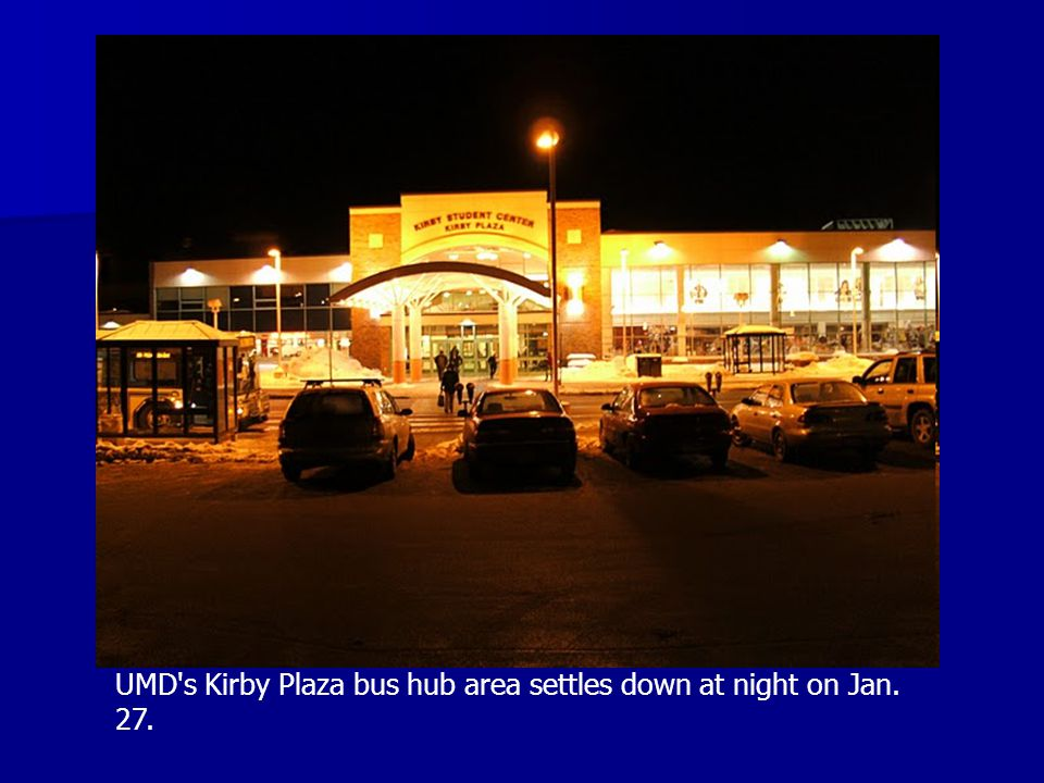 UMD s Kirby Plaza bus hub area settles down at night on Jan. 27.