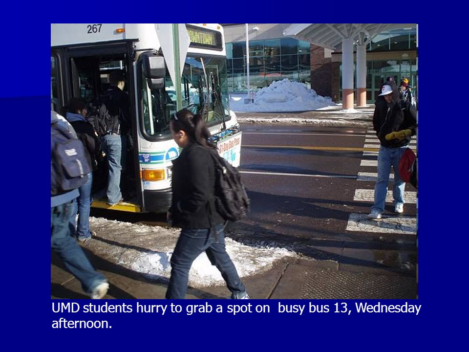 UMD students hurry to grab a spot on busy bus 13, Wednesday afternoon.
