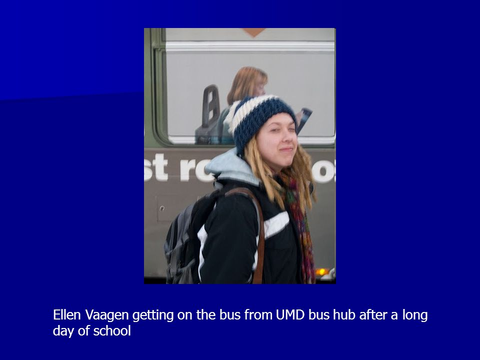 Ellen Vaagen getting on the bus from UMD bus hub after a long day of school
