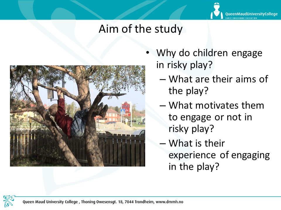 Aim of the study Why do children engage in risky play? – What are their aims of the play? – What motivates them to engage or not in risky play? – What