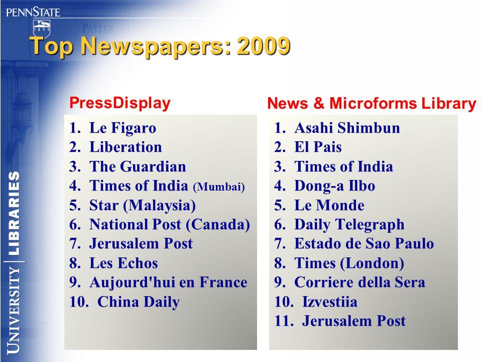 Top Newspapers: 2009 PressDisplay 1. Le Figaro 2. Liberation 3. The Guardian 4. Times of India (Mumbai) 5. Star (Malaysia) 6. National Post (Canada) 7