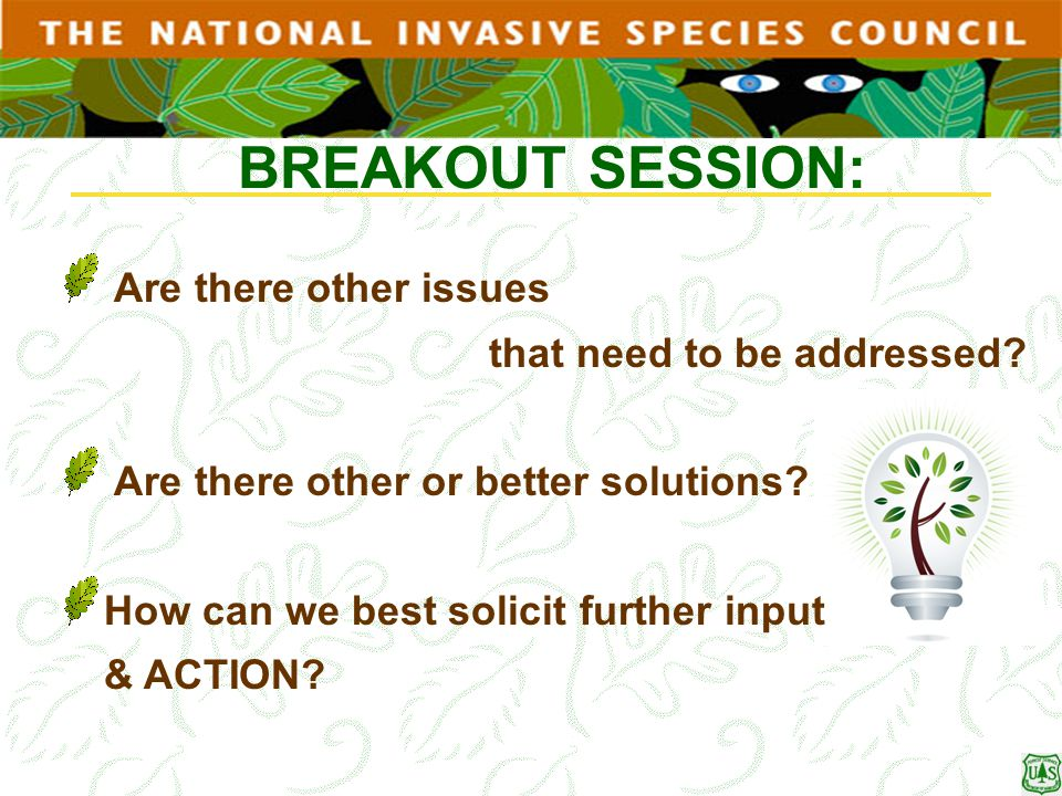 BREAKOUT SESSION: Are there other issues that need to be addressed? Are there other or better solutions? How can we best solicit further input & ACTIO