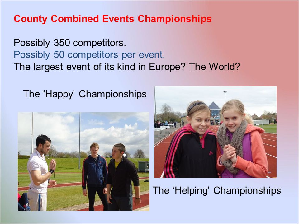 There is a limit to the number of athletes we can select :  Cross- Country – age group teams of 10 Whole team of 80 athletes Maximum of 70 competitors per event  Track & Field – a maximum of 3 competitors per event - A maximum of 130 competitor places Giving usually a whole team of about 115 athletes Maximum of 21 competitors per event  Combined Events – age group teams of 4 Whole team of 24 Maximum of 32 competitors per event Plus Race Walk competitors