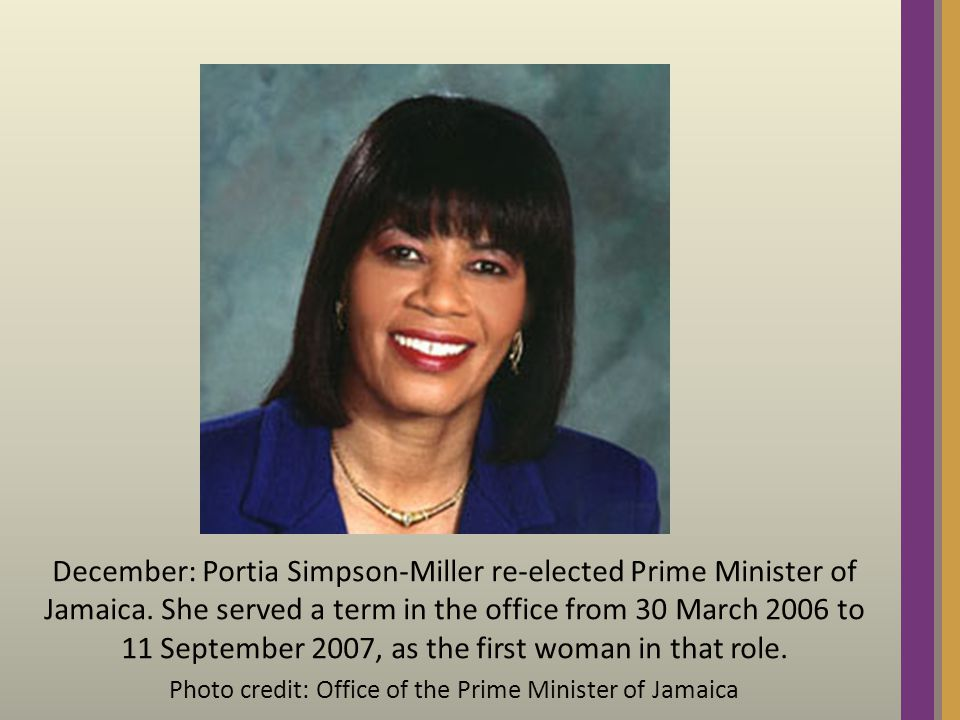 December: Portia Simpson-Miller re-elected Prime Minister of Jamaica.