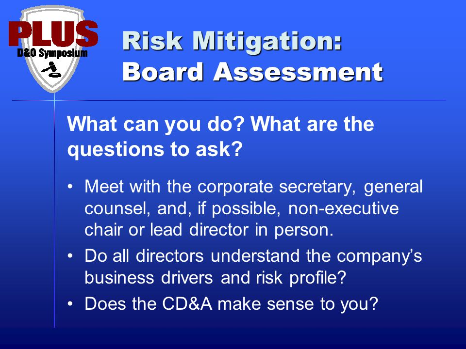 Risk Mitigation: Board Assessment What can you do.
