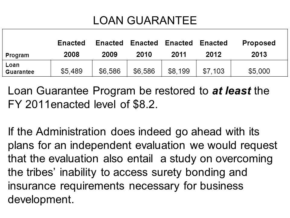 LOAN GUARANTEE Enacted Proposed Program 200820092010201120122013 Loan Guarantee $5,489$6,586 $8,199$7,103$5,000 Loan Guarantee Program be restored to at least the FY 2011enacted level of $8.2.