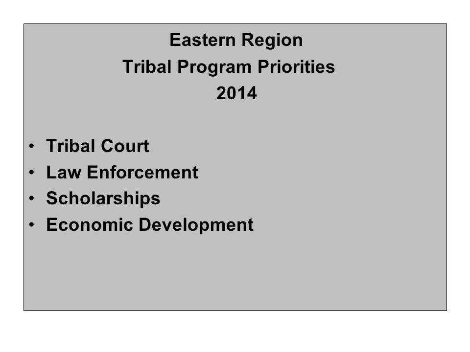 Eastern Region Tribal Program Priorities 2014 Tribal Court Law Enforcement Scholarships Economic Development