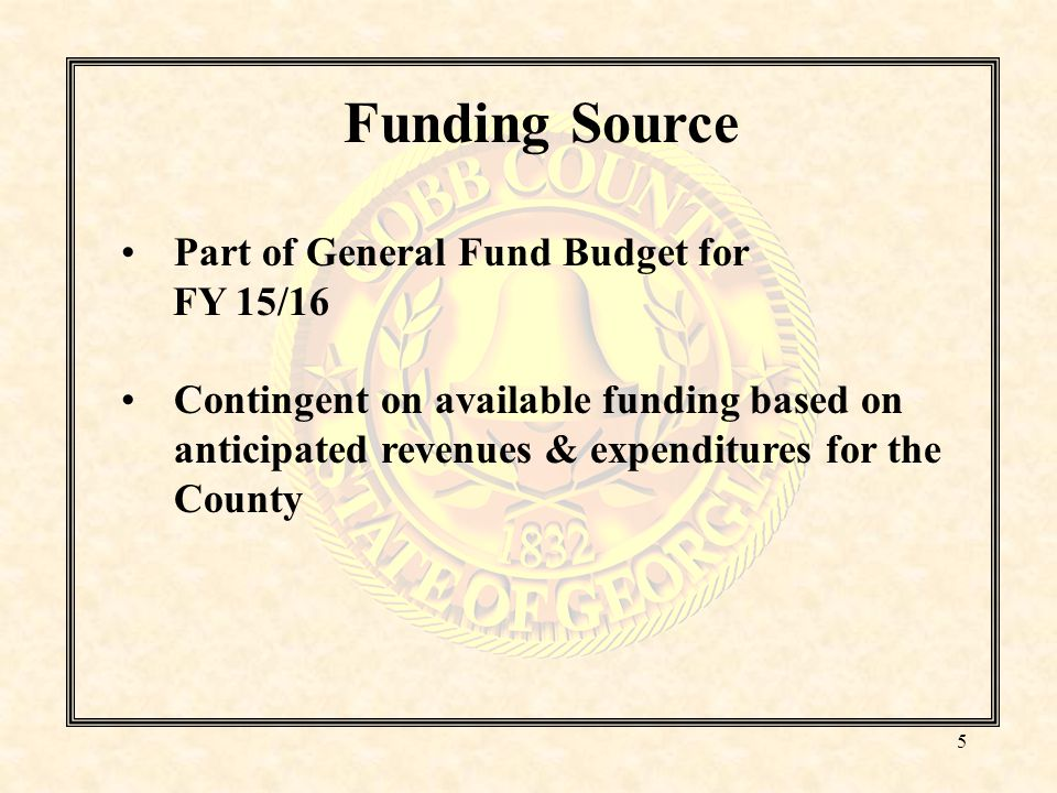 Funding Guidelines Minimum amount requested must be at least $10,000 May not exceed 20% organization's Cobb County budget 3 designated pots of money corresponding with the 3 priority areas: Basic Needs Education/Employment Public Safety/Legal System/Crime Prevention Each priority area has a set of mandatory outcomes and indicators.