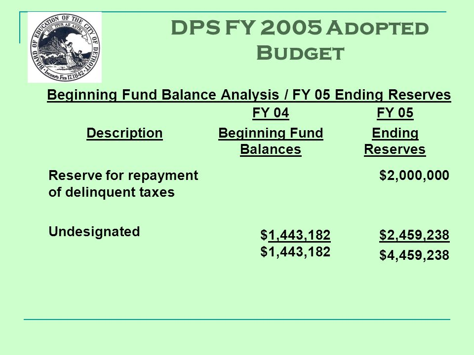 Description FY 04 Beginning Fund Balances FY 05 Ending Reserves Reserve for repayment of delinquent taxes Undesignated $1,443,182 $2,000,000 $2,459,238 $4,459,238 Beginning Fund Balance Analysis / FY 05 Ending Reserves DPS FY 2005 Adopted Budget