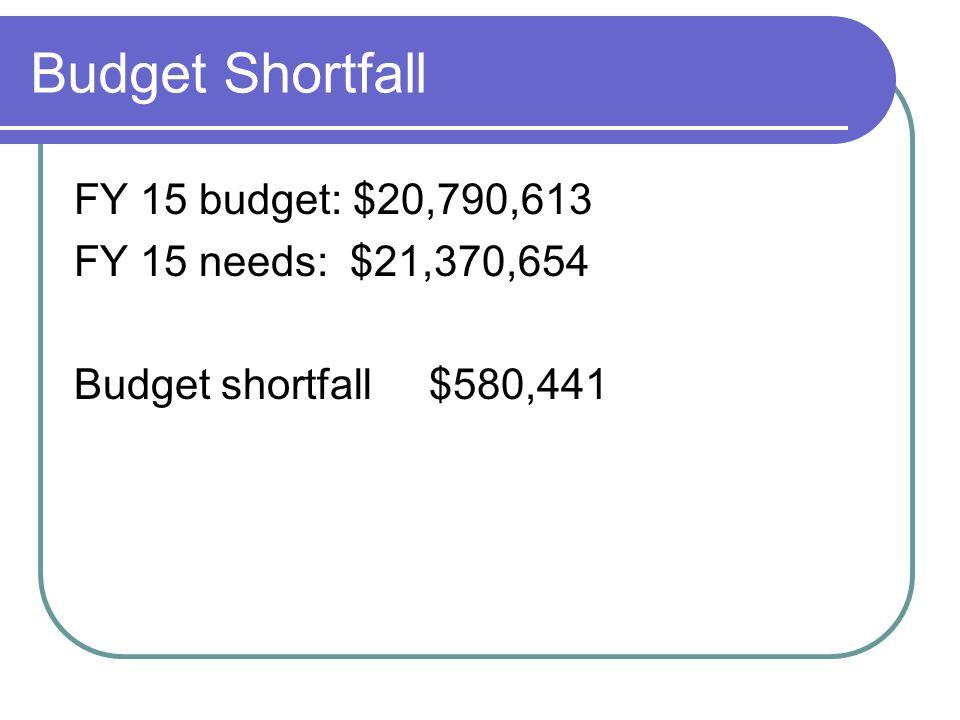 Budget Shortfall FY 15 budget: $20,790,613 FY 15 needs: $21,370,654 Budget shortfall $580,441