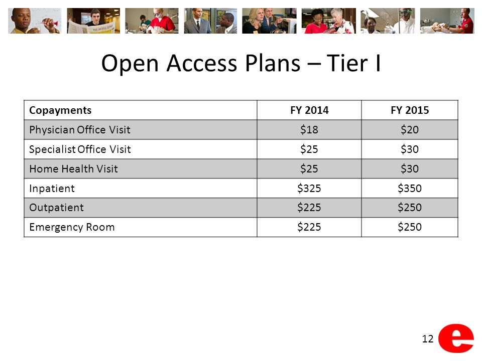 Open Access Plans – Tier I CopaymentsFY 2014FY 2015 Physician Office Visit$18$20 Specialist Office Visit$25$30 Home Health Visit$25$30 Inpatient$325$3