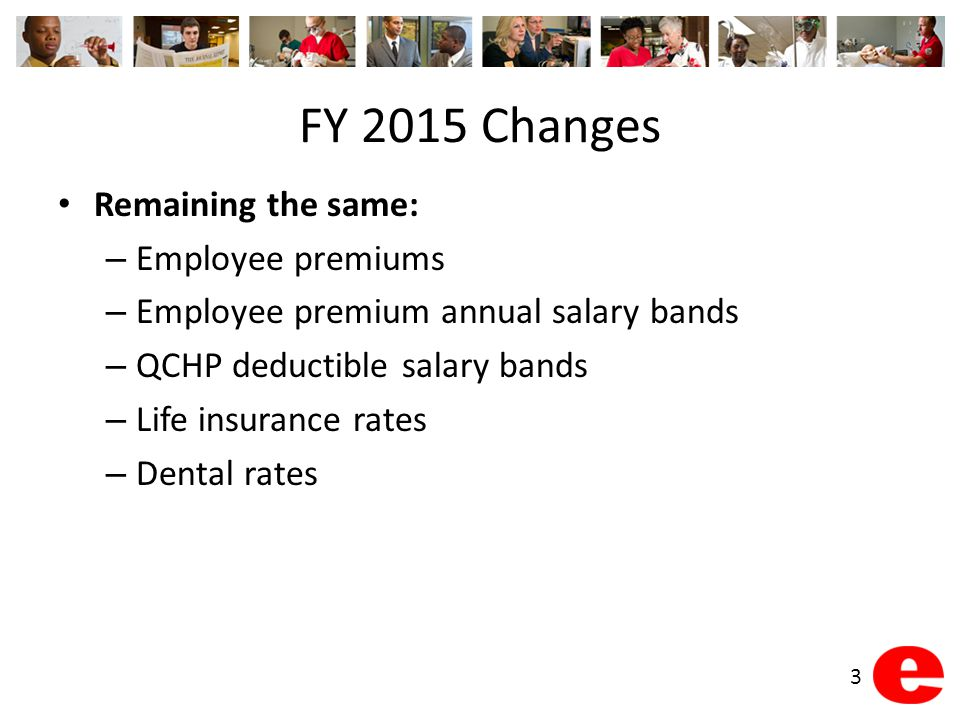 FY 2015 Changes Remaining the same: – Employee premiums – Employee premium annual salary bands – QCHP deductible salary bands – Life insurance rates – Dental rates 3