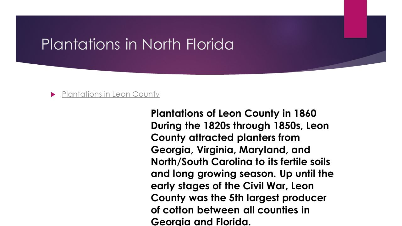 Plantations in North Florida  Plantations in Leon County Plantations in Leon County Plantations of Leon County in 1860 During the 1820s through 1850s, Leon County attracted planters from Georgia, Virginia, Maryland, and North/South Carolina to its fertile soils and long growing season.
