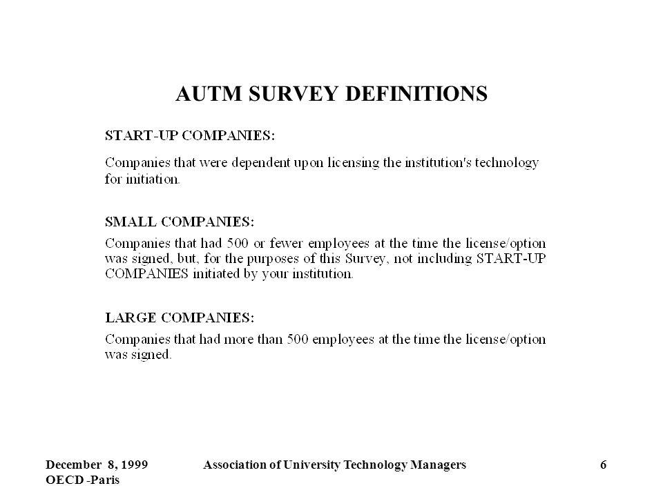 December 8, 1999 OECD -Paris Association of University Technology Managers6 AUTM SURVEY DEFINITIONS